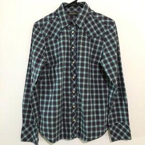 2/$20 Eddie Bauer Plaid Long Sleeve Blouse